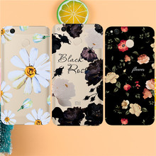 Black white red flower Case For Xiaomi Redmi 3 3S 4A 4X 4 4S Note 3 Note 4 4X 5A Case Back cover