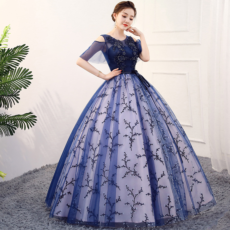 New navy blue sweat lady girl women princess bridesmaid banquet party ball  prom dress gown