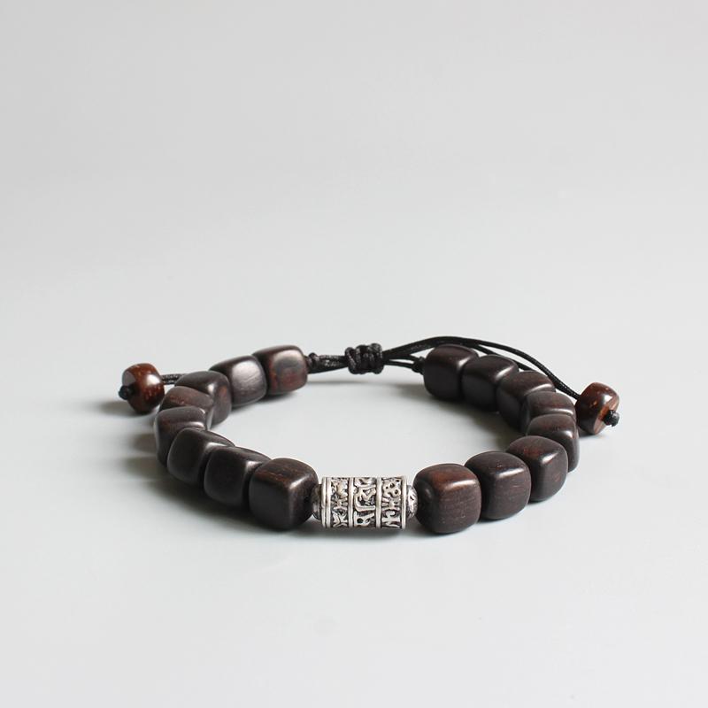 Tibetan Buddhism Amulet Natural Dark Sander Wood Charm Bracelet