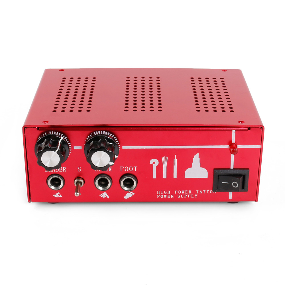 1Pcs New Red Professional Aluminum Alloy Double Output Digital Tattoo Power Supply for Permanent Makeup Tattoo Machine Kits<br>