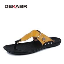 Buy DEKABR Brand Genuine Leather Shoes Men Slippers Summer Deodorant Sandals Casual Men Beach Shoes Fashion Men Flip Flops Sandalias for $20.98 in AliExpress store