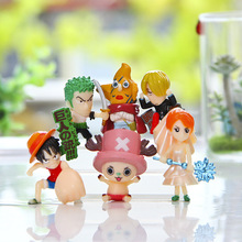 6pcs/set One Piece Luffy Chopper Zoro Diy Gift Animiation Action Figure Doll House Kids Toys Miniature Model For Car Decoration(China)