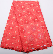 Coral African swiss voile lace high quality ,wedding lace African Fabric 100% Cotton Swiss Voile Lace Fabric NA313B-2