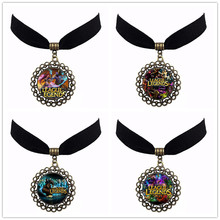4 Styles Lea gue Game Glass Cabochon Velvet Choker High Quality Cheap Vintage 30cm Short Pendant Necklace Free Shipping