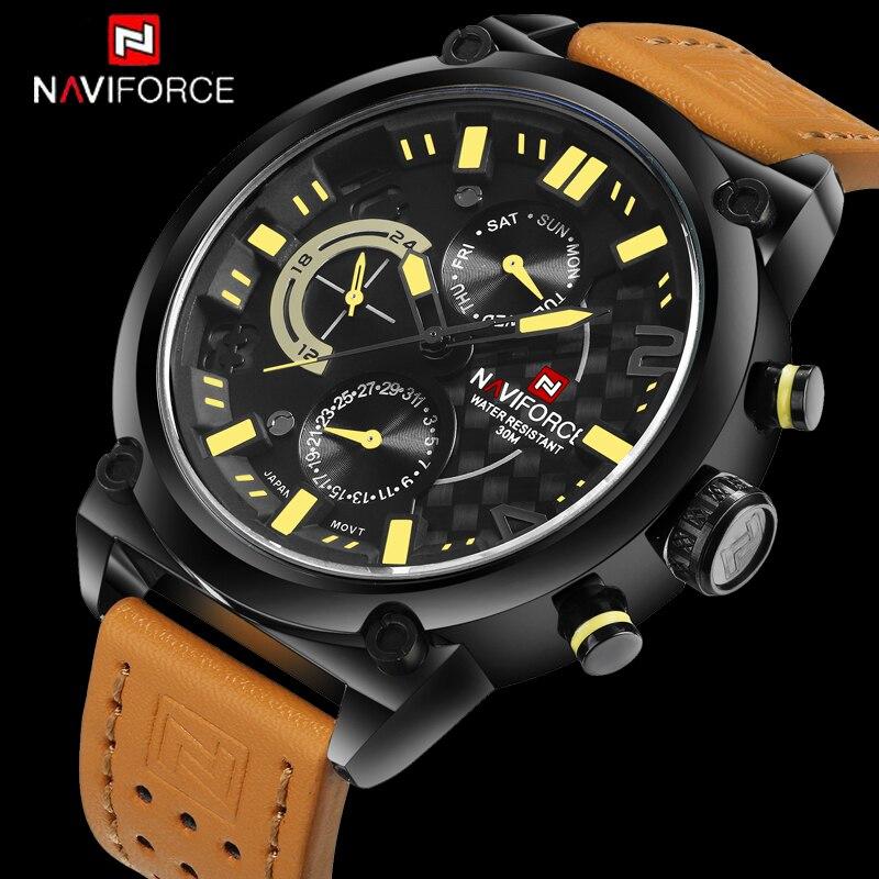 Mens Watches Top Brand Luxury Brand NAVIFORCE Casual Quartz Watch Men Leather Sport Wristwatches Waterproof Relogio Masculino<br>