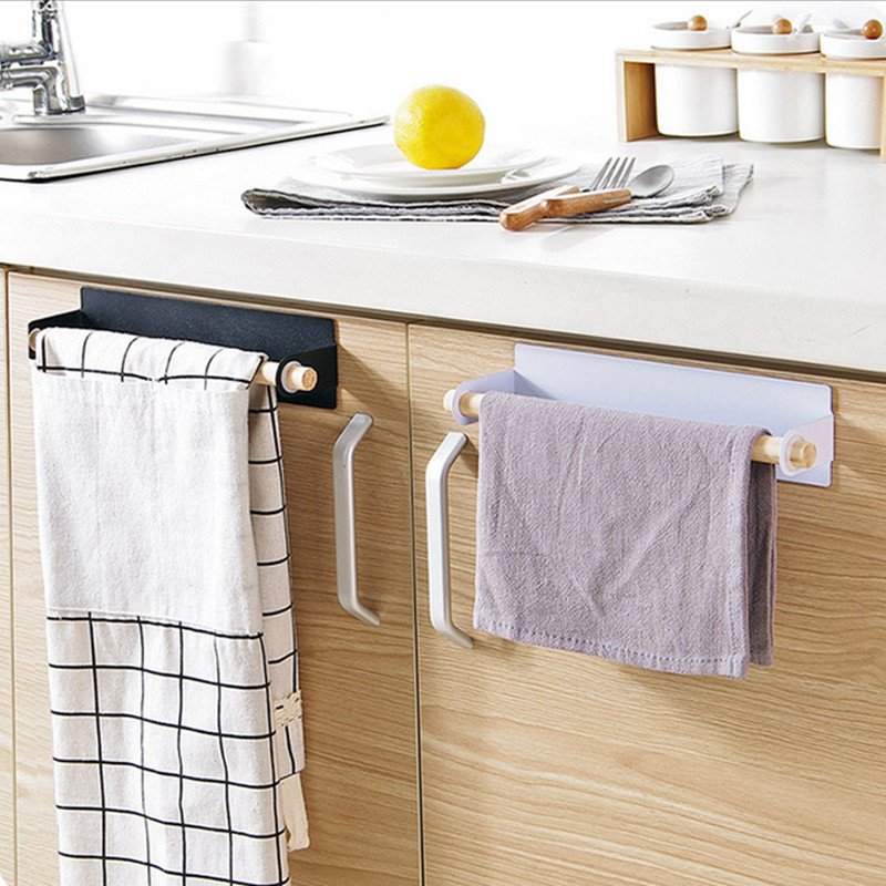HOT Paste Wrapped Towel Bar Free Punching Iron Towel Rack Kitchen Wipes Rack Towel Shelf 5