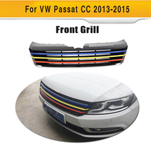 ABS Badgeless Colorful Front Race Grill Mseh Grille Guard for Volkswagen VW Passat CC 2013 2014 2015 Car Accessories(Hong Kong)
