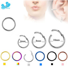 10pcs/Lot [100% G23 Titanium] 16G Septum Clicker Hinged Segment Nose Hoop Rings Septum Clicker Nose Tragus Piercing Nariz Body