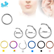 10pcs/Lot [100% G23 Titanium] 16G Septum Clicker Hinged Segment Nose Hoop Rings Septum Clicker Nose Tragus Piercing Nariz Body(China)