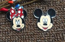 20pcs Cartoon Mickey Minnie Metal Charm Key chain necklace Pendants DIY Jewelry Making Mobile Phone Accessories