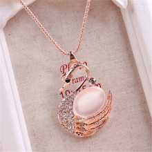 Transparent White Opal Duck Swan Necklace High-grade Gem Gold Pendant Sweater Chain Necklaces