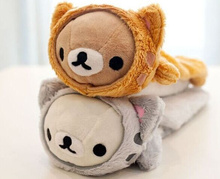 2Colors - Super Cute 22CM Approx. CAT Rilakkuma Plush Stuffed Toy Pencil BAG , Plush Bear Coin BAG Purse Plush Toy