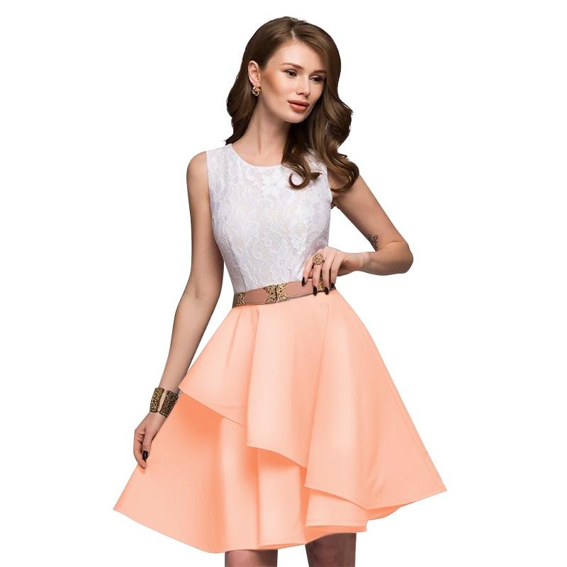 Lace Dress 2018 Women's New Fashion Summer Beach Sleeveless Flare Dresses Mini A-Line Party Dress Vestidos Plus Size 9