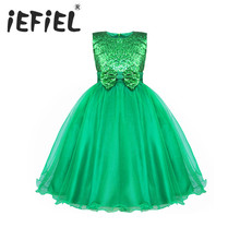 iEFiEL Sequined Kids Infant Girls Wedding Flower Girls Dress Princess Party Pageant Formal Dress Sleeveless Lace Tulle Tutu Dres(China)