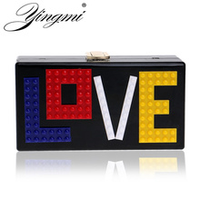 YINGMI New Arrival Plastic Women Evening Bag LOVE Letter Women Evening Bag Chain Shoulder Handbags Mixed Color Party Clutch Bag()