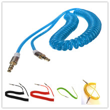 2M Aux 3.5mm Male to Male Car Jack Stereo Coiled Coil Audio Cable Auxiliary For iPhone/ Mp3/ Mp4 Spiral Audio Cable Universal