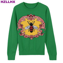 HZLLHX women fall autumn sweater bee jacquard ladies pullovers round neck long sleeves green sweater top woman Retro 30% wool