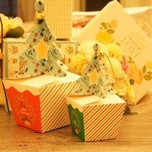 white Christmas Tree Design 12pcs Paper Box Gifts Candy Chocolate Cookie Packaging Party Favors Decoration Use New