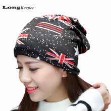 LongKeeeper Spring Autumn Hats for Women Men New UK Flag Pattern Beanies Wrapped Hat Well Delicate Warm Caps 2017 New Design(China)