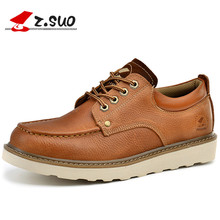 Z. Suo Brand Autumn 100% Cow Leather Strong Man Tooling Shoes Low Top Classic Solid Color Men's Big Head Toe Leather Shoes
