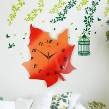 1 piece EMS DHL Free Shipping Wooden 3d Wall Clock Large Big Wood Wall Clocks Oversize Creative Maple Leaf Shape Clocks Decor(China)