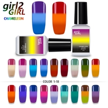 girl2Girl CHAMELEON COLOR CHANGE VARNISH SOAK-OFF LED UV Gel Nail Polish 36 Colors Manicure 7ML WB1-18 GEL POLISH(China)