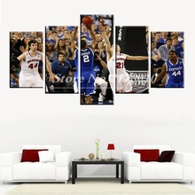 NewModern Home Artwork Poster Picture basketball Canvas Unframed Popular Team Members 5pieces Painting Bedroom Ball the US