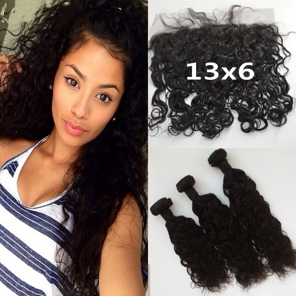 Cheap Unprocessed Virgin Human Hair Bundles With Lace Frontal Closures 13x6 Bleached Knots Mongolian Water Wave Lace Frontal<br><br>Aliexpress