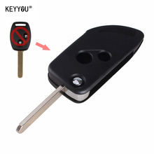 KEYYOU Modified Folding Flip Remote Key Shell Case Fob 2 Button For Honda CRV Accord Civic Fit 2B With LOGO Free Shipping