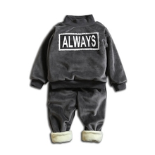 Winter Children Boys Girls Garment Clothes T-shirt Baby Thickening Pants 2Pcs/Sets Kids Velvet Clothing Suits Toddler Tracksuits(China)