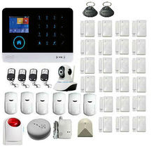 Touch screen keypad LCD display WIFI GSM+360 degree IP Camera with Auto Dial,Motion Detectors and more diy Home Alarm System