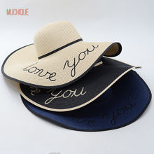 Muchique Summer Hat Love You Embroidery Floppy Sun Hats for Women Foldable Summer Beach Paper Straw Hat(China)