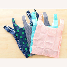 Unisex  Star Dots Stripe Reusable Portable folding bag Waterproof Reusable Eco Shopping Travel Shoulder Bag Pouch Tote Handbag
