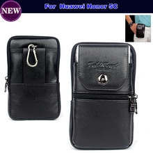 Genuine Leather Carry Belt Clip Pouch Waist Purse Case Cover for Huawei Honor 5C Mobile Phone Bag Free Shipping