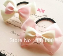 Free Shipping  Pink Hairbow Ponytail Holder Girl Hairbow  Elastic Hair Band
