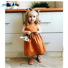 Baby Girls Dress Up Brand Summer A-Line Style Solid Color Party Backless Dresses For Girls Vintage Toddlers Girl Clothes Qz-563