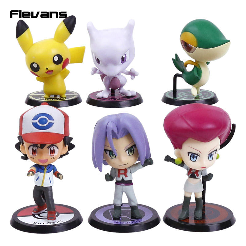 Monsters Ash Ketchum Pikachu Mewtwo Snivy Jesse James Cute Mini Big Head PVC Figures Collectible Model Toys Dolls Boxed 6pcs/set<br><br>Aliexpress