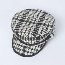 Chapéu feminino chapéu de outono e inverno nova lã tweed quadriculado retro  chapéu militar moda 7b2e03cac98