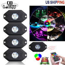 CO LIGHT One Set Easy install Bluetooth Controller DC12v 24v RGB 4 pods 9W LED Rock Lights Decorate Light Fits 4x4 4WD Wrangler(China)