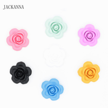 Silicone Flower Beads Pendant for Teether DIY Loose Beads Teething Pendants BPA FREE Silicone Baby Teethers 5Pcs/Lot(China)