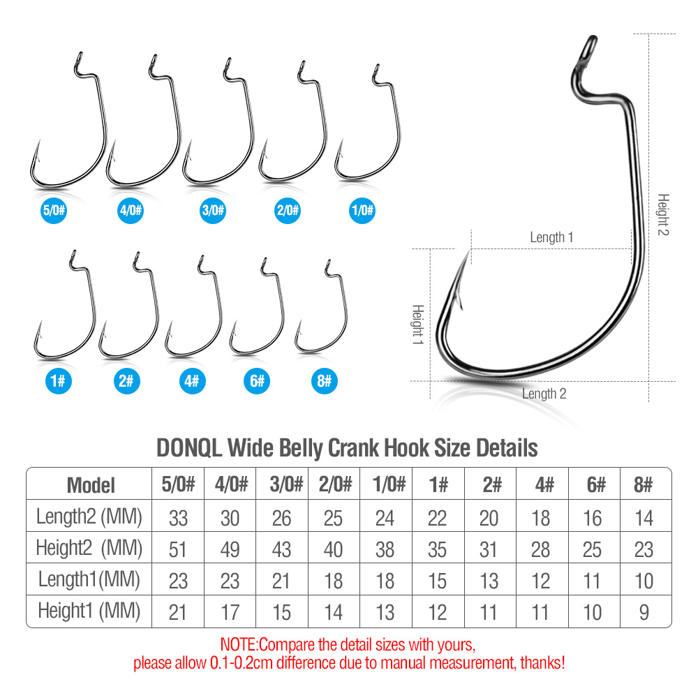 DONQL 10pcs Set Fishing Hook Carben Steel Wide Crank Offset Fishhook For Soft Worm Lure 50#-1# Bass Barbed Carp Fishing Hooks  (8)