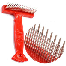 Double Row Pet Comb Stainless Steel Pins Dog Cat Grooming Undercoat Rake Brush Safe and Durable Products(China)