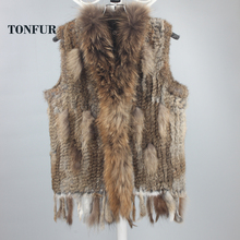 New Genuine Knitted Rabbit Fur Vest With Raccoon Fur Collar Real Rabbit Fur Gilet Winter Fur Waistcoat FP781
