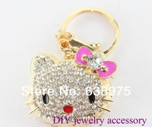 4PCS Free Shipping key chains, alloy rhinestone hello kitty key chains in golden tone width free jewelry gift