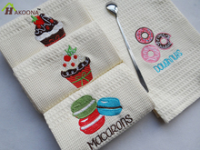 HAKOONA Macaron Cake Pattern Embroidery Table Napkins Kitchen Mats Home Photography Props Kitchen Towels Tea Towels Cloth Pads