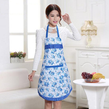 Pastoral Style Rose Flower Printed Aprons With Pocket Bowknot Kitchen Cuisine Cooking Accessory Multicolor High Quality