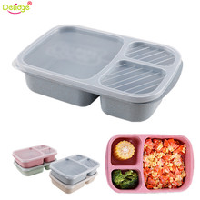 Delidge 1 pc 3 Grid Portable Cutlery Set Plastic Wheat Straw Food Crisper Picnic Tableware Set With Microwave Cutlery Box(China)