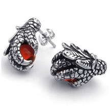 Mens Cubic Zirconia Stainless Steel Gothic Dragon Claw Stud Earrings, Red Silver(China)