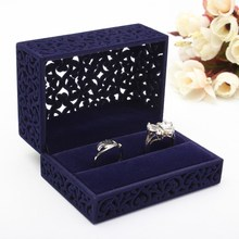 Blue Velvet Flock Jewelry Gift Box Case Earrings Ring Necklace Bracelet Chain Jewelry Display Stand Packaging Box 5 Shape(China)