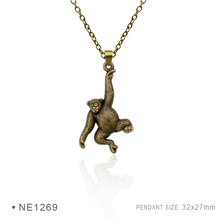 (10 pcs/lot) Monkey Rabbit Pig Cat Panda Koala Bear Hippo Squirrel Pendant Necklace For Women Silver Jewelry Statement Necklace(China)